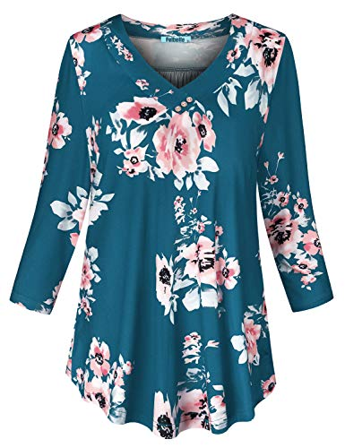 Fulbelle Floral Tops for Women,Plus Sized Drapped Style Fluttery Print Blouses Beauty Wood Buttons V Necklines Comfort Stretch Simply Over Basic Long Length Tunic Office Blue XL