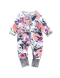 Infant Newborn Baby Girl Zipper Floral Print Romper Bodysuit Outfit