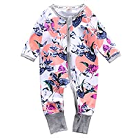 Infant Newborn Baby Girl Zipper Floral Print Romper Bodysuit Outfit (3-6month...