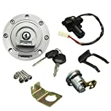 Fuel Gas Cap Ignition Switch Seat Lock with Key Kit 100% Durable for Yamaha YZF R1 R6 2001-2012