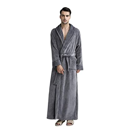 6fa6d31be5 Luxurious Women Men Fleece Flannel Sleepwear Warm Shawl Collared Thicker Long  Unisex Bath Robe Couple Pajamas