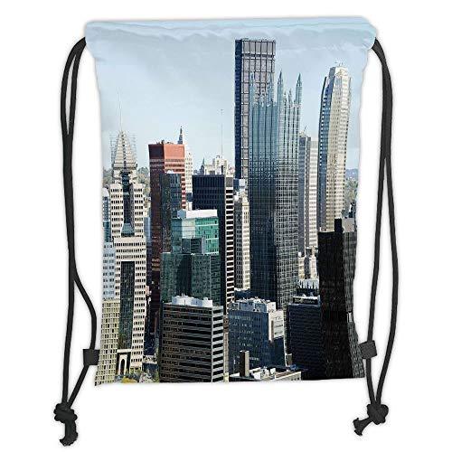New Fashion Gym Drawstring Backpacks Bags,USA,American Architecture Pittsburgh PA Skyline Pennsylvania Modern Cityscape,Grey Silver Light Blue Soft Satin,Adjustable String Closure ()