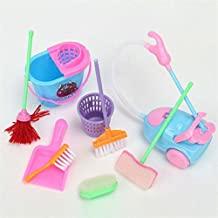 BephaMart Mini 9Pcs a Set Barbie Doll Cleaning Tools Furniture Home Princess Baby Plush Cleaner Kit Household Model Toys Shipped and Sold by BephaMart