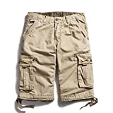 OCHENTA Men's Cotton Casual Loose Fit Cargo Shorts #3229 Khaki 44