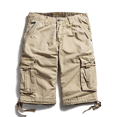 OCHENTA Men's Cotton Casual Loose Fit Cargo Shorts #3229 Khaki 44 by OCHENTA