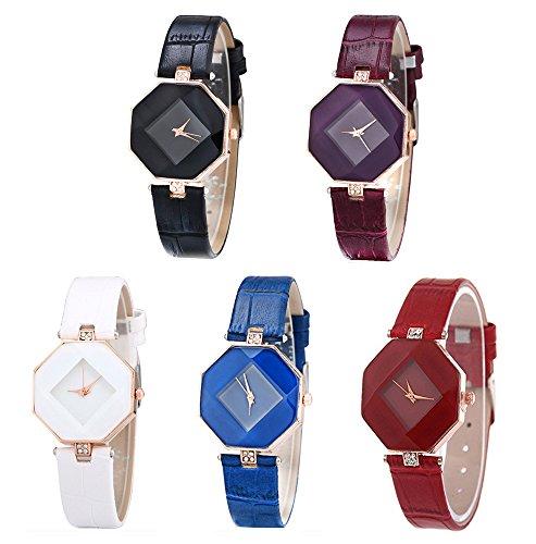 CdyBox Women Girls Leather Watch Diamond Analog Quartz Dress WristWatch 5 (Purple Leather Watch)