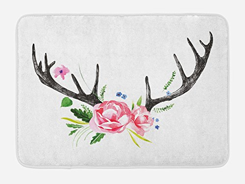 Lunarable Antler Bath Mat, Black Deer Horns with Pink Roses Floral Wreath Design in Watercolors Wildlife Art, Plush Bathroom Decor Mat with Non Slip Backing, 29.5 W X 17.5 W (Deer Antler Bath)