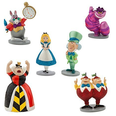 Disney Alice in Wonderland Figure Play Set 6 pieces w/Glitter accents Exclusive Alice In Wonderland Figure