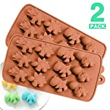PERNY Dinosaur Molds, Set of 2 Non Stick Silicone Dinosaurs Mold for Making Crayon Candy Chocolate Soap Gummy