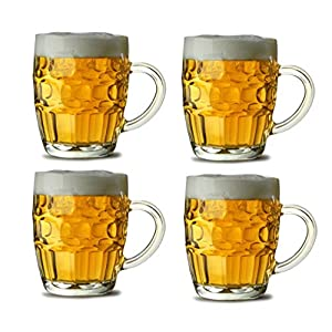 Traditional Glass Pint Tankards 560ml – Set of 4