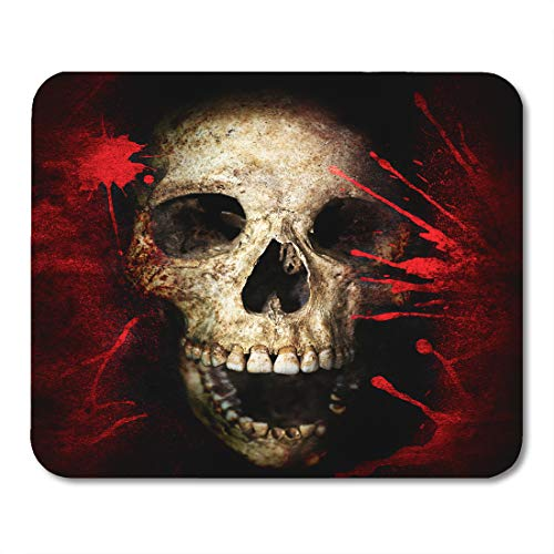 Emvency Mouse Pads Red Black Skull and Blood Vintage Halloween Text Anatomy Bloody Bone Mouse pad 9.5