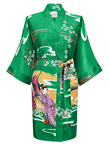 (Swhiteme Women's Kimono Robe, Short, One Size, Geisha, Emerald)