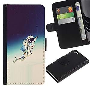 NEECELL GIFT forCITY // Billetera de cuero Caso Cubierta de protección Carcasa / Leather Wallet Case for Apple Iphone 5 / 5S // Espacio Astronauta Hipster