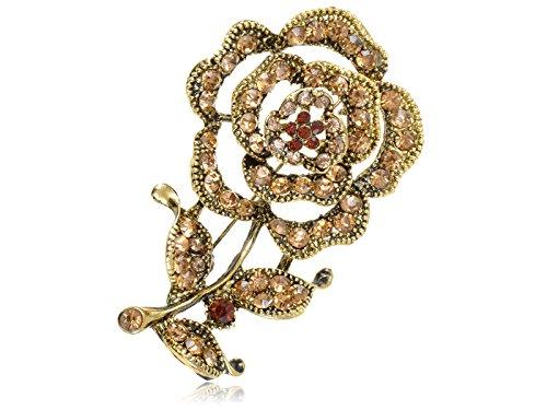Rose Topaz Brooch - Vintage Inspired Golden Tone Amber Synthetic Topaz Brown Rose Petal Flower Stem Costume Pin Brooch