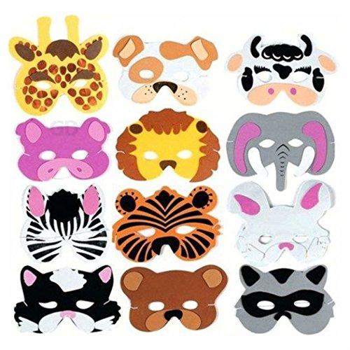 [(12) Foam Zoo Animal Kids Mask Assorted Party Favor Lion Tiger Bear Pig Cat] (Cat Masks For Kids)