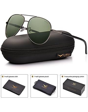 f78f78f76a5d LUENX Men Women Aviator Sunglasses Grey Green Polarized Lens Gun Metal Frame  Non-Mirror 60MM