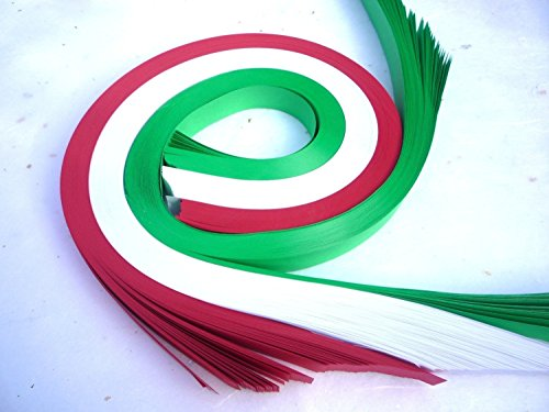 Weaving Paper Strips, 100 Pack, Red, Green, White Holiday Mix (3/4 inch) - German Star Ornament