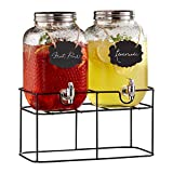 Style Setter Beverage Drink Double Dispensers Glass & Metal Stand & Lid (Set of 2), Clear, 1 Gallon Each