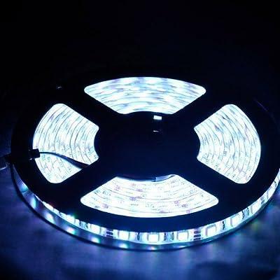 16,4 300led SMD5050 M 5 m blanc froid étanche bande Led Flexible Lampe 12v Bandes Sans alimentation électrique. durée de vie moyenne : 50000 heures-Ideal For Gardens, Homes, Kitchen, Under Cabinet, Aquar