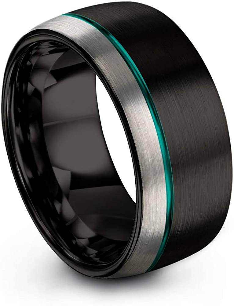 Chroma Color Collection Tungsten Carbide Wedding Band Ring 10mm for Men Women Green Red Blue Purple Black Copper Fuchsia Teal Offset Line Dome Grey Exterior Half Brushed Polished