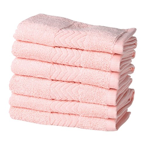 uxcell Luxury Hotel & Spa Soft Bath Towels, 100% Cotton 6 Piece Wash Cloths Set, 13.4 x 13.4 inch, Pink by uxcell