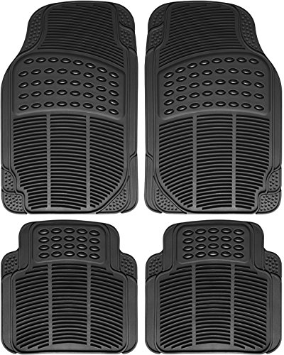 OxGord Universal Fit Front/Rear 4-Piece Full Set Ridged Heavy Duty Rubber Floor Mat - - Universal Piece 4 New Car