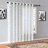 """Warm Home Designs Extra Wide 110"""" x 84"""" Ivory (Light Beige) Color Knitted Lace Patio or Sliding Door Curtains. 16 Grommets Total. Chic, Free Flowing Design at Affordable Price. LI Ivory Patio 84"""""""