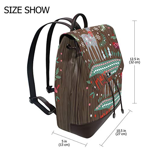 Merry Chirstmas ren ryggsäck handväska mode PU-läder ryggsäck ledig ryggsäck för kvinnor