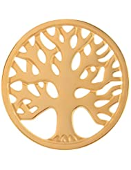 MS Koins Stainless Steel Tree of Life Coin Yellow Gold Plated Fits Our Coin Locket System, 30mm Diameter