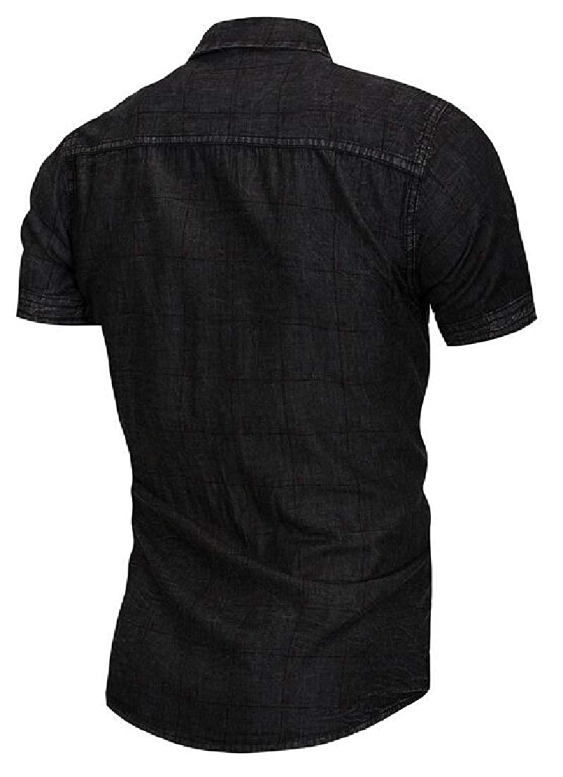 Esast Men Basic Short Sleeve Rugged Wear Chambray Denim Work Shirts