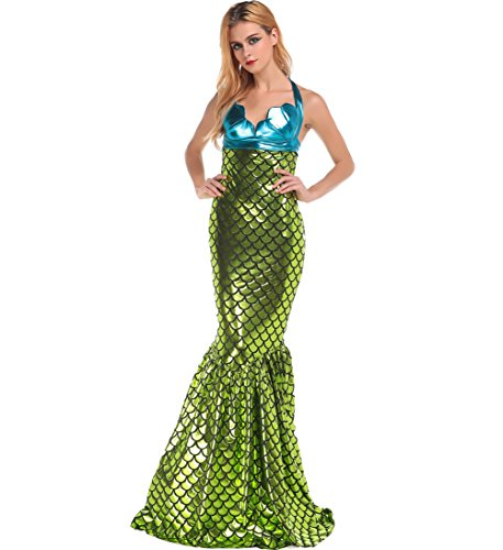 Papaya Wear Women Halloween Custume Wet Look Mermaid Costume Adult (Holloween Custumes)