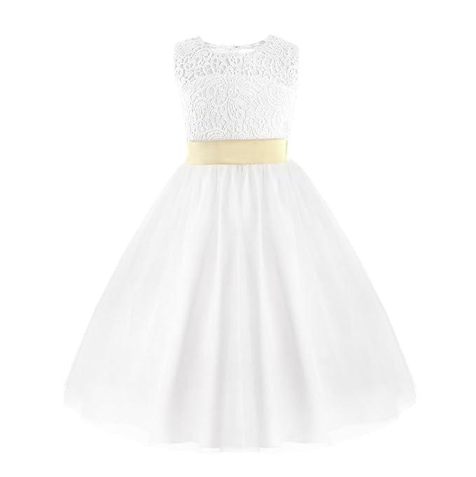 e8cdbc9e015 Amazon.com  FEESHOW Flower Girls Kids Heart Cutout Back First Communion  Dress Wedding Party Pageant Dress  Clothing