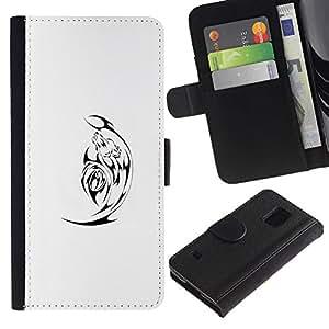 KingStore / Leather Etui en cuir / Samsung Galaxy S5 V SM-G900 / Negro Minimalista Blanca Satanás;