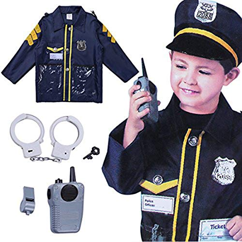 ACSUSS Boys Girls Halloween Cosplay Outfits Policeman/Fireman/Doctor Costumes with Accessories Navy Blue One_Size