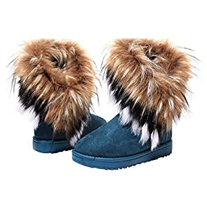 VFDB Women Mid Calf Boot Suede Faux Fur Tassel Outdoor Winter Snow Suede Flat Shoes US 9