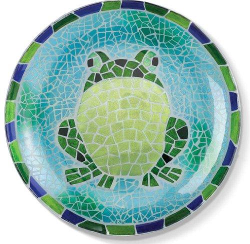 Grasslands Road 470593 Green Frog Blue Mosaic Glass Plate, Large Vivid Color -