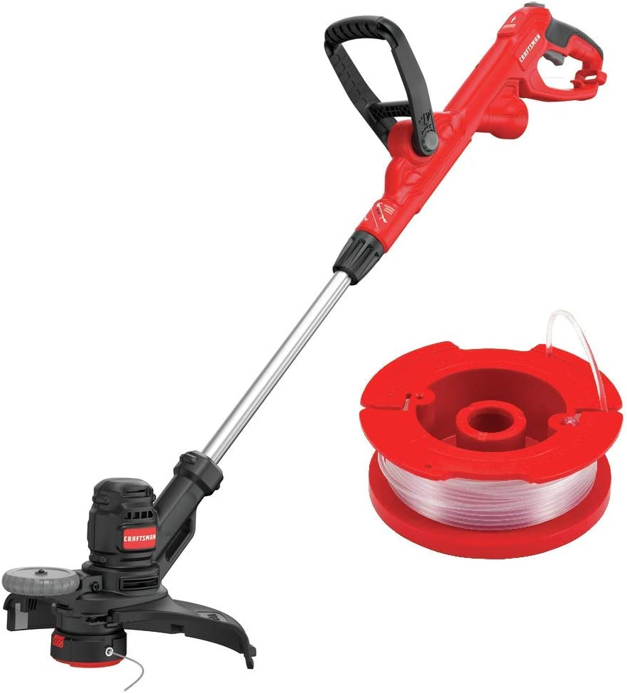 "CRAFTSMAN CMESTE920 6.5Amp Electric String Trimmer w/Push Button Feed System with CMZST065 .065"" Replacement Spool"