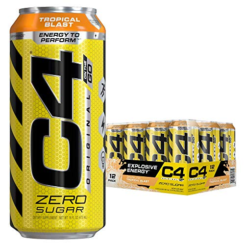 Cellucor C4 Original Carbonated Zero Sugar Energy Drink, Pre Workout Drink + Beta Alanine, Sparkling Tropical Blast, 16 Ounce Cans (Pack of 12)