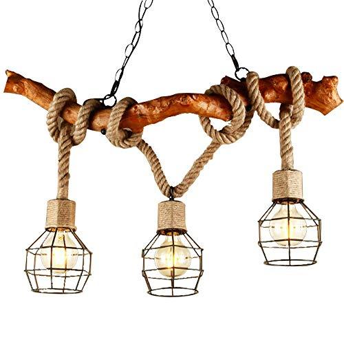 XAJGW Luces Colgantes multitáctiles de Cuerda Natural Lámpara Colgante de celosía Lámpara Colgante con Jaula de...