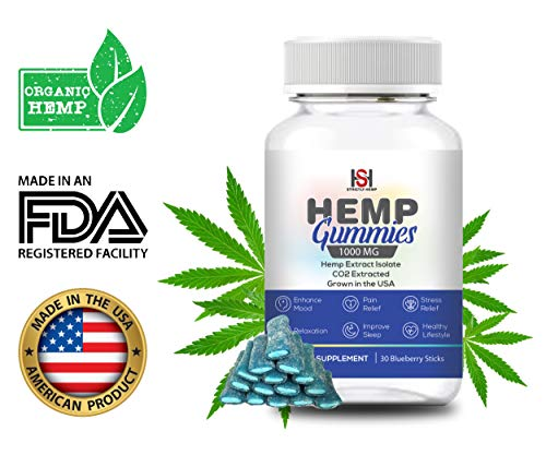 Hemp Blueberry Gummies 1000 mg - 30 Count | Full Spectrum Organic Hemp Extract Isolate | Relaxing, Relief from Pain, Stress, and Anxiety | Sleep Better