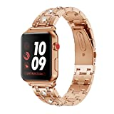 22mm Luxury Crystal Metal Watch Band For Apple Watch Series 1/2/3 38mm (Rose Gold)