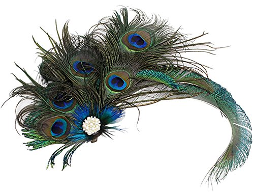 Women Girls Peacock Feather Hair Clip Retro Wedding Carnival Party Hairpin, Green