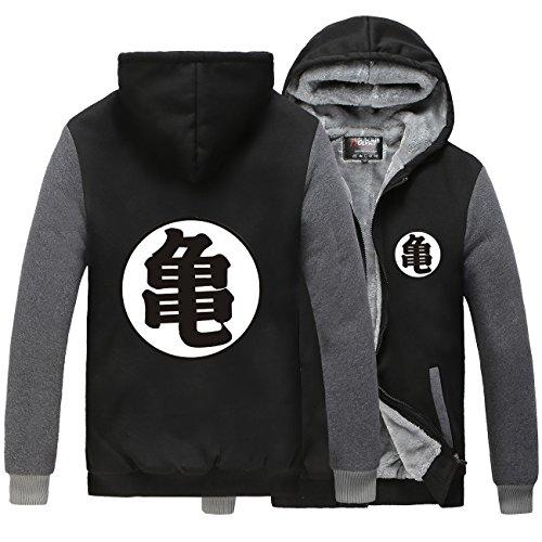 Poetic Walk Anime Dragon Ball Z Son Goku Thicken Jacket Fleece Winter Hoodie (Large, Black&Gray)