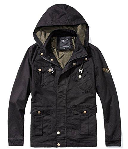 Negro del chaquetón de Shuanghao algodón los Capucha Las Abrigo con Chaquetas Caliente Hombres el Militares Nuevas superan del wSRCqF