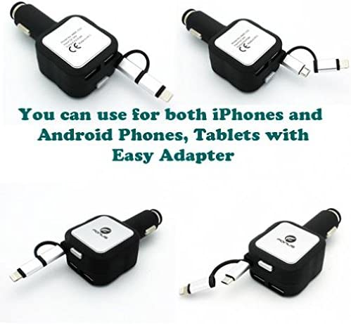 HD 6 8 7 HDX 7 Kindle DX 8.9 Fire 8.9 4.8Amp Retractable Car Plug-in Rapid DC Charger USB 2-Port 2-in-1 Plugs Power Adapter Black for  Fire HD 10
