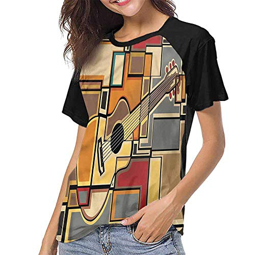 familytaste Shirts,Music,Geometric Guitar Funky S-XXL(This is for Size Medium),Print Short Sleeve Baseball Ladies Tee