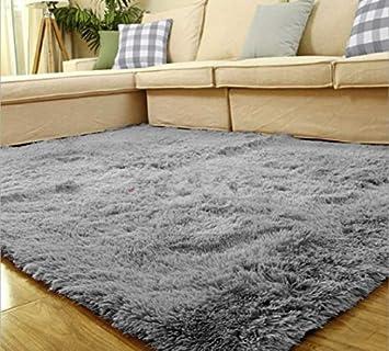 Yontree Anti Skid Living Room Soft Carpets Floor Mat Shaggy Area Rug Silver  Gray