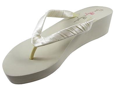 Amazon.com | Bridal Wedge Flip Flops Ivory White 1 2 3.5 inch Heel ...