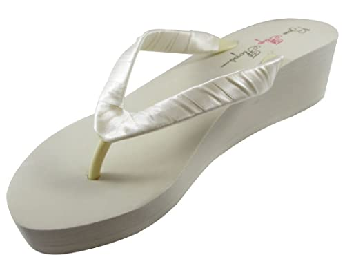 bf9bf6c558e20 Bridal Flip Flops Womens Wedding Platform Heel Satin Wedge Ivory 5 M US