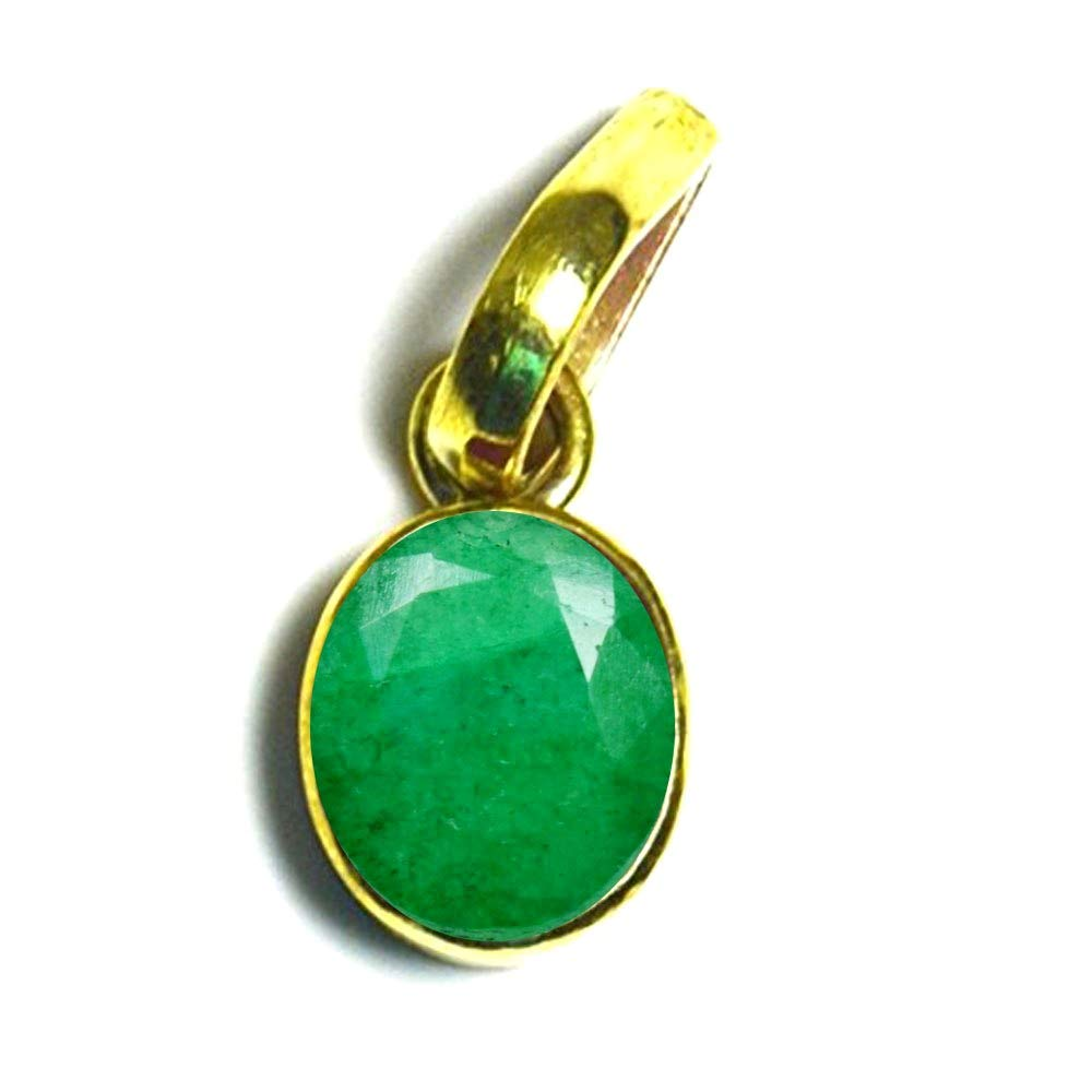 55Carat Brand Real Emerald Pendant Panchdhatu 6 Carat Stone Gold Plated Birthstone Locket for Jewelry